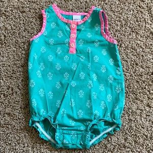 Carter's 9 month green and pink floral romper